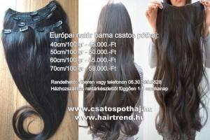 Európai natúr barna csatos póthaj árak 2015 - 40cmtől 70cmig